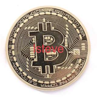 1pcs gold commemorative coins Physical Bitcoins Casascius Bit Coin BTC Physical Metal Antique Imitation BTC Coin Art Collection