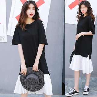 Loose fitting Summer pure cotton chiffon splicing two T-shirt dress short-sleeved Korean loose pleated skirt