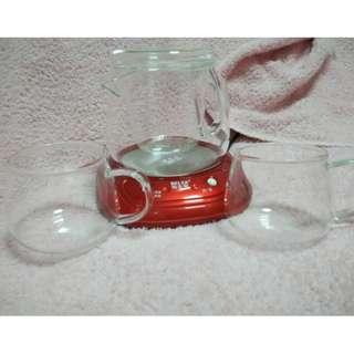 Flower Glass Tea Pot Set