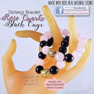 Distance Bracelet (Rose Quartz + Black Onyx) with Stainless Steel Charm