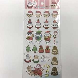 ㄇㄚˊ幾兔 燙金銅版貼紙 (聖誕)  麻幾兔 麻吉兔 台灣 MACHIKO YUKIJI