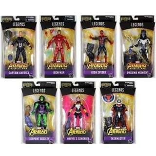 Preorder: Marvel Legends Infinity War Wave 1 - MCU Captain America, Iron Man, Iron Spider, Proxima Midnight, Songbird, Taskmaster, King Cobra & BAF Thanos