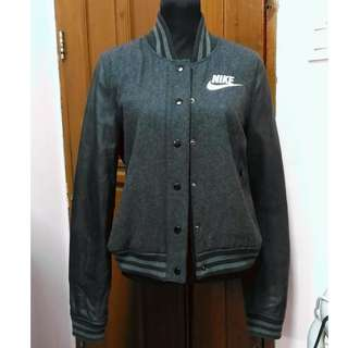 NIKE Bomber Jacket with Real Leather Sleeves