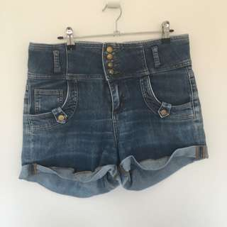 Blue Denim High Wasted Shorts Size 16