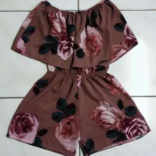 BKK Off Shoulder Floral Romper Shorts