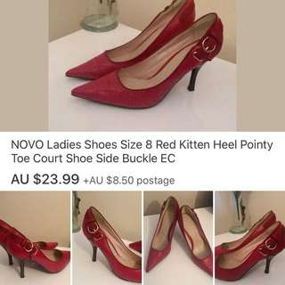 NOVO Ladies Shoes Size 8 Red Kitten Heel Pointy Toe Court Shoe Side Buckle EC
