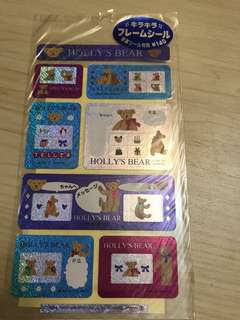 Sanrio Holly's Bear Photo Frame Stickers ( Made in japan in 1997)