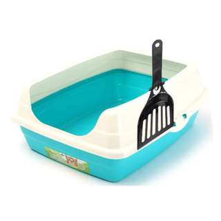 CAT LITTER TRAY-  BLUE & PINK WITH SCOOP *INSTOCKS*