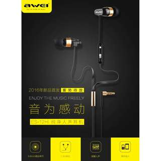 Super Bass Driven Sound Wired Earpiece Awei ES12HI