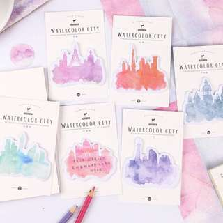 Watercolor City Sticky Notes