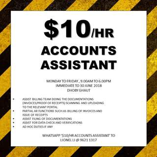 $10/hr accounts assistant // immediate // Dhoby Gauht