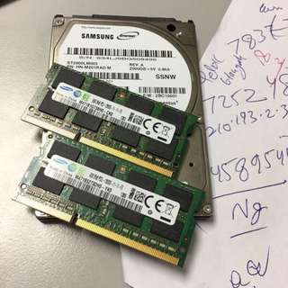 "2 Tb 2.5"" laptop Disk n 8 Gb ddr3 ram  -) FOR LAPTOP"