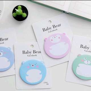 Baby Bear Memo Pad Sticky Post-it Notes
