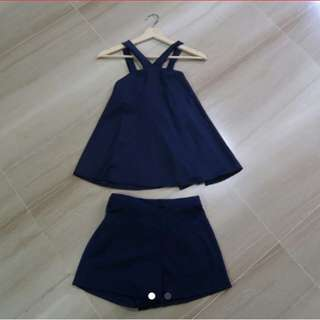 Satin Blue 2 Piece Co-ord