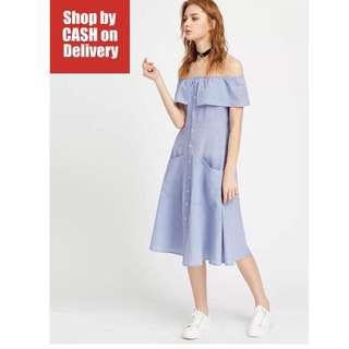Blue Off Shoulder button up dress