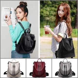 PU Leather Backpack Shoulder Hand Carry Bag