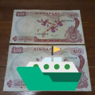 Singapore Ten Dollars Orchid Series Old Note