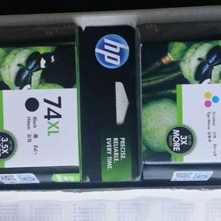 HP ink cartridges 75xl, 74xl set