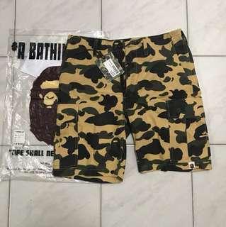 Bape bathing ape cargo shorts yellow camo size S