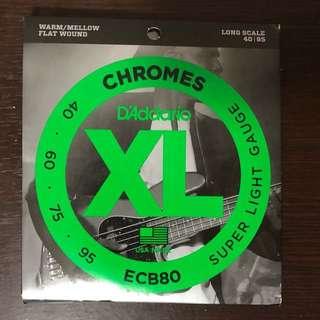 D'Addario Chromes ECB80 Flatwound Bass string 40-95