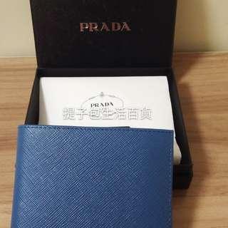 全新真品 Prada 藍色銀包
