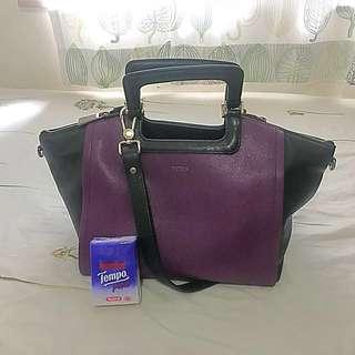 Furla purple/black 2-way handbag