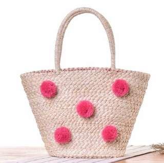 Straw Bag Pom Pom