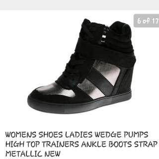 Ladies ankle wedge sneaker shoes