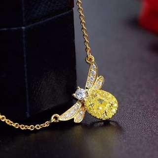 Fancy Intense Yellow Diamond 濃彩黃鑽石小蜜蜂18k黃金頸鏈💎全新獨家