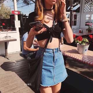 Ribbon tie cropped top