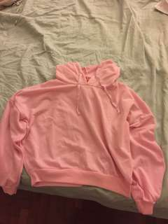 baby pink cropped hoodie