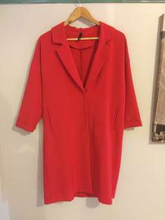 Staple the label red duster coat jacket