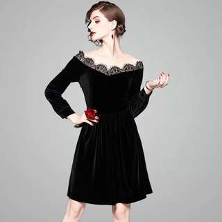 Floral boat neck lace mesh stitching little black velvet valour party cocktail stretchy waist A-line dress