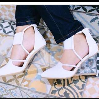 grinitty shoes heels transparant wedges cermin original white