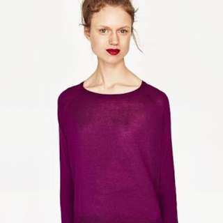 Zara vneck sweater fuschia