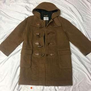 L-XL 可 日本毛料牛角釦大衣 看細圖正常使用痕跡☘️綠24