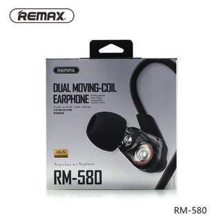 Bass Quality Sound Dual Moving Coil Eaphones Earpiece Headset Remax RM-580