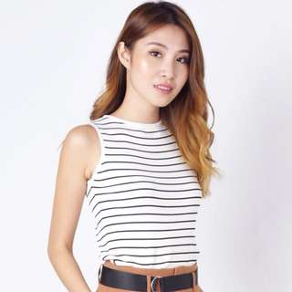 (S) Striped Knit Top