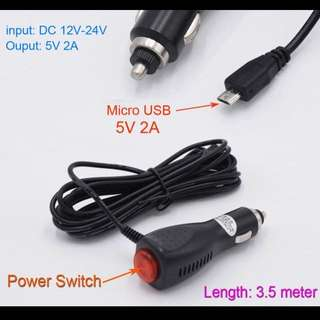 3.5m 5V 2A Micro USB Car Charger with Switch for GPS/ Mobile SmartPhone/ Car DVR Camera Input 12V 24V