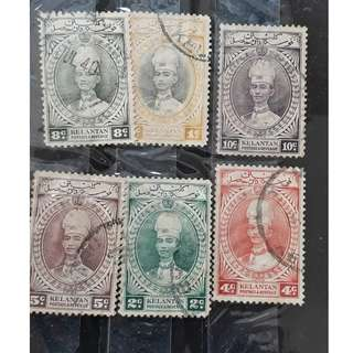 KELANTAN - Kelantan 1937 Sultan Ismail  Fine Used- SET OF 6 STAMPS - 1 , 2 , 4 , 5 , 8 & 10 Cents