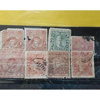 TRAVANCORE COCHIN STATE - 8 Stamps set - BRITISH INDIA Period