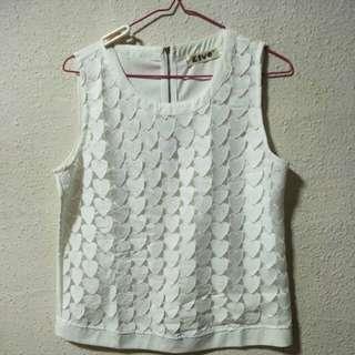 Kiyo white heart shaped sleeveless top