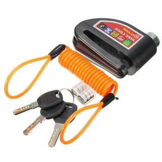 Alarm Disc Brake security Lock, waterproof 110dB anti-theft with 5 feet reminder cable and pouch