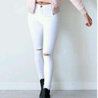 Zara White Skinny Ripped Jeans