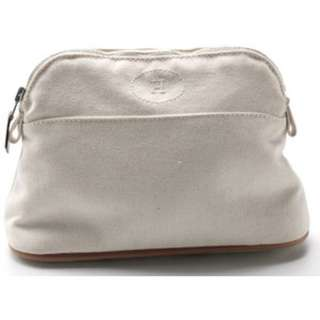 HERMES Trousse Bolide Light Brown Canvas Cosmetic Bag