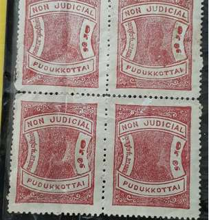 PUDUKKOTTAI  STATE - BLOCK OF 4 STAMPS MNH , Mint - BRITISH INDIA PERIOD