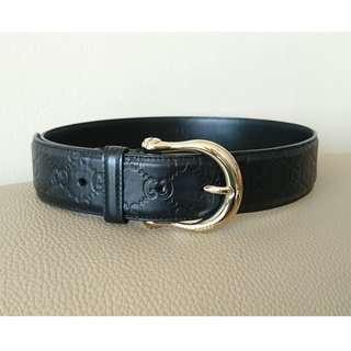 Authentic Gucci thick leather belt (black)