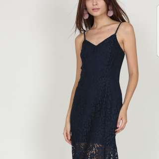 Mds Lace Flare Dress in Midnight