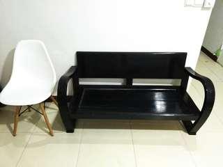 Small black wooden sofa bench