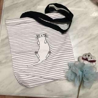 貓咪黑白條紋帆布包